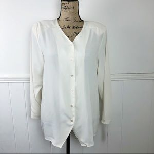 Vintage JH Collectibles White Button Blouse Top